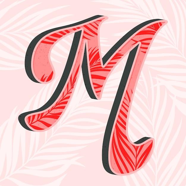 葉を持つ創造的なアルファベット文字m 無料ベクター