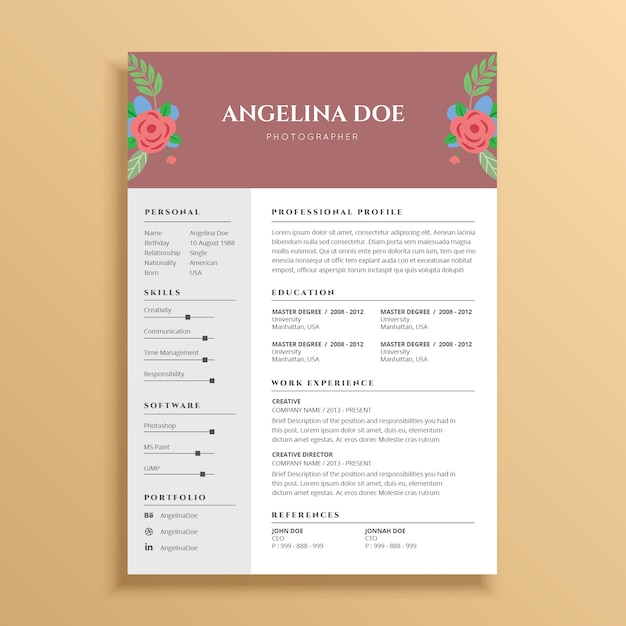 Creative And Beautiful Resume Template Design With Flower Ornament Premium  Vector