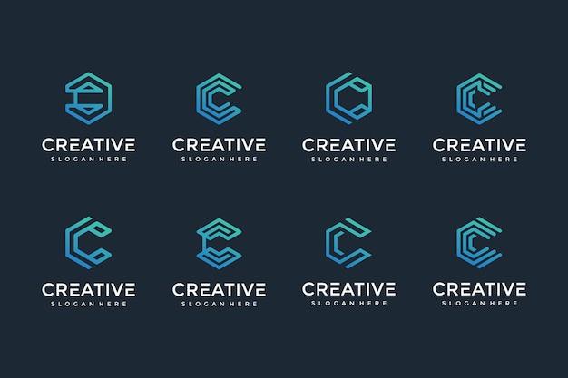 高級ビジネスのための創造的でエレガントなc文字のロゴアイコン Premiumベクター