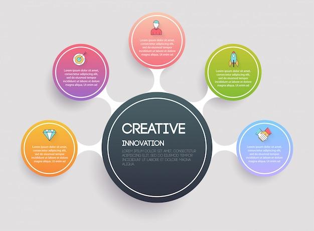 Креативная и маркетинговая концепция. инфографика шаблоны для бизнеса. может быть использован для верстки сайта, нумерованных баннеров, диаграммы. современная концепция бизнес вектор. Premium векторы