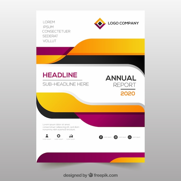 Creative annual report cover in gradient style Free Vector