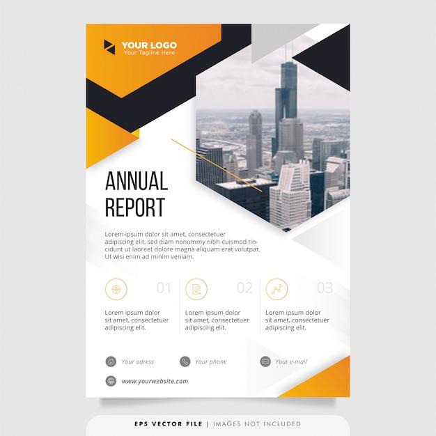 創造的な年次報告書のデザインテンプレートです。 Premiumベクター
