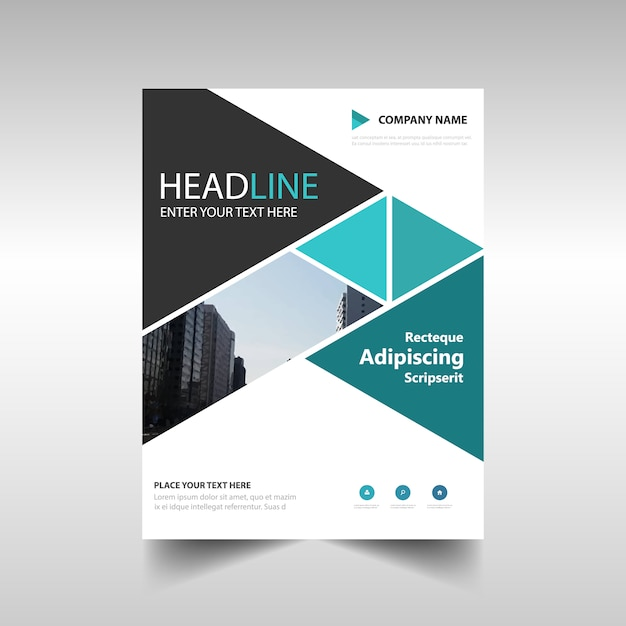 Creative annual report template with triangular shapes Vector   Free ...