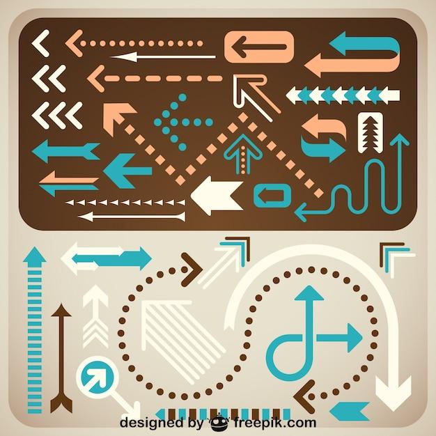 Creative arrows set retro design Free Vector