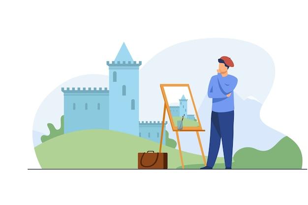 Castello di pittura artista creativo. pennello, paesaggio, illustrazione vettoriale piatto paesaggio. concetto di arte e creazione Vettore gratuito