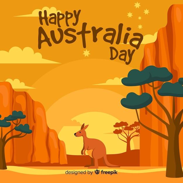 Творческий австралийский день фон с кенгуру Бесплатные векторы