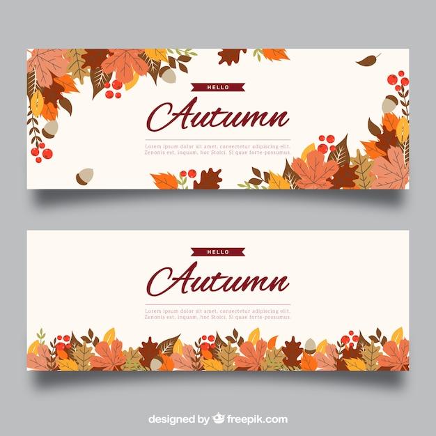 Creative autumn banner Free Vector