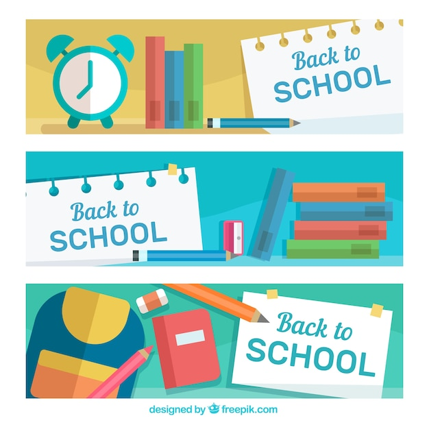Creative back to school banners in flat design