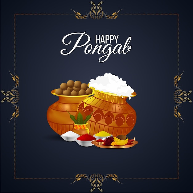 Creative background for happy pongal with creative mud pot and sugarcane Premium Vector