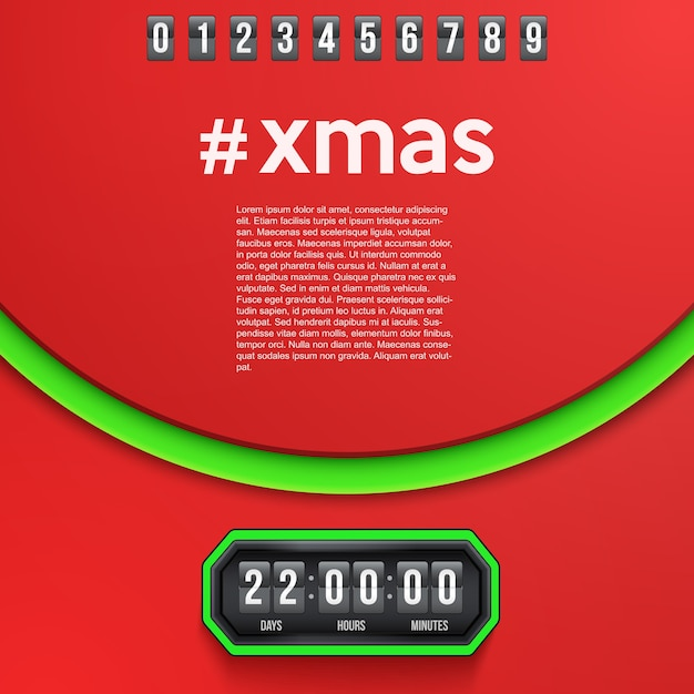 Creative background merry christmas coming soon and countdown timer with digit samples. Premium Vector