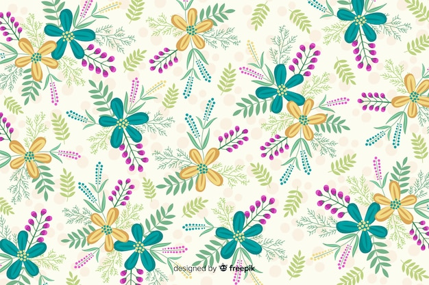 Creative background with colorful flowers Free Vector