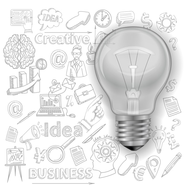 Creative background with lightbulb Free Vector