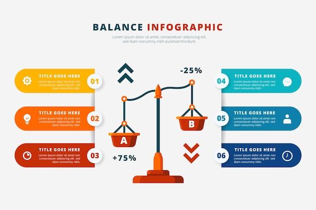 Творческий баланс инфографики в разных цветах Premium векторы