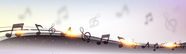 Creative banner design with abstract waves, musical notes and golden lens flare effect. Free Vector