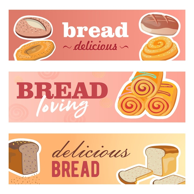 Creative banner designs with fresh bread. delicious cereal loafs and rolls on pastel Free Vector