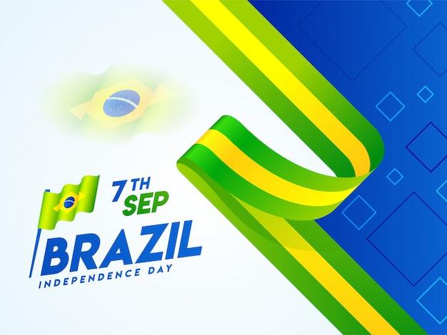 Креативный дизайн баннера или плаката с национальным флагом бразилии на 7 сентября Premium векторы