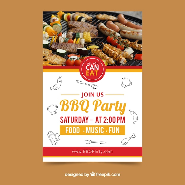 Creative bbq invitation template Vector | Free Download