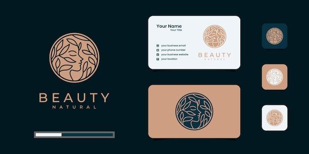 クリエイティブビューティーウーマンヘアサロンは、自然のコンセプト、ロゴ、名刺と組み合わせています。 Premiumベクター