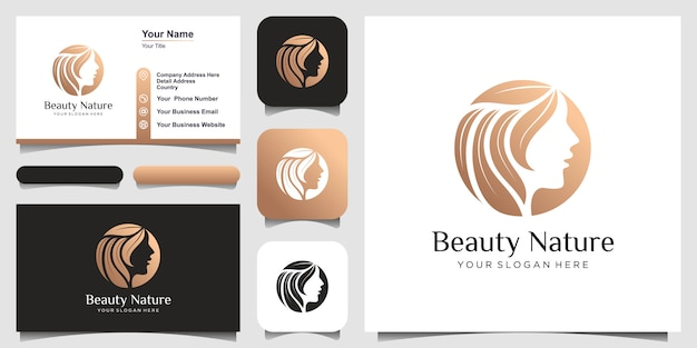 Creative beauty woman hair salon combine with nature concept, logo and business card design. Premium Vector