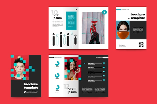 Creative bifold brochure template with fashion photos Free Vector