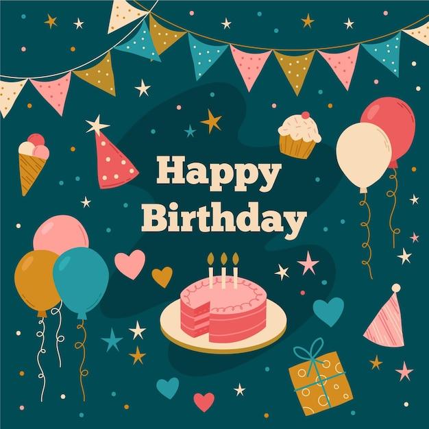 Творческий день рождения фон иллюстрированный Бесплатные векторы