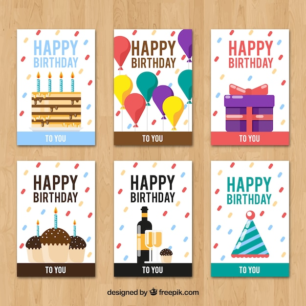 Creative birthday cards collection Vector – Birthday Card Collection