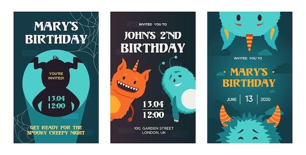 Disegni di inviti di compleanno creativi con simpatici mostri. inviti alla festa in maschera alla moda con testo. celebrazione e concetto di vacanza. modello per depliant, banner o flyer Vettore gratuito
