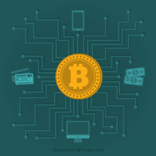 Creative bitcoin design Free Vector