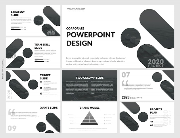 Креативные черно-белые слайды шаблон Premium векторы
