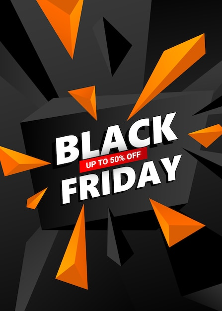Creative black friday sale banner template. Premium Vector