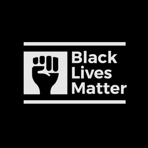 Creative black lives matter lettering with drawn fist Free Vector
