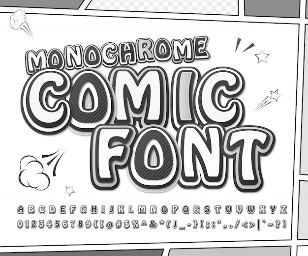 Creative black and white comic font. monochrome letters and numbers in pop art stye on comic book page Premium Vector
