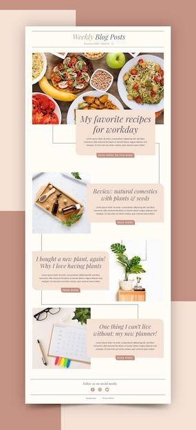 Modello di e-mail blogger creativo Vettore gratuito
