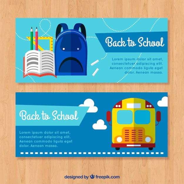 Creative blue back to school banners in flat design