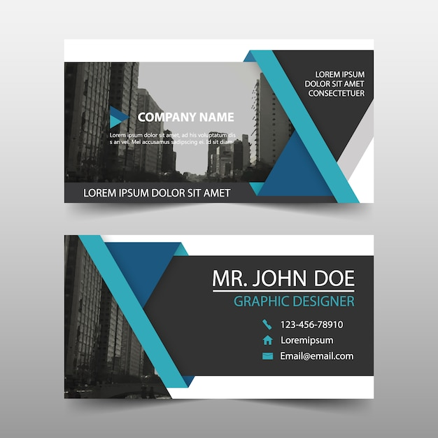Creative blue business card template design vector free download creative blue business card template design free vector wajeb