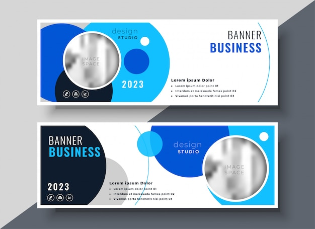 Creative blue circle business banner template Free Vector