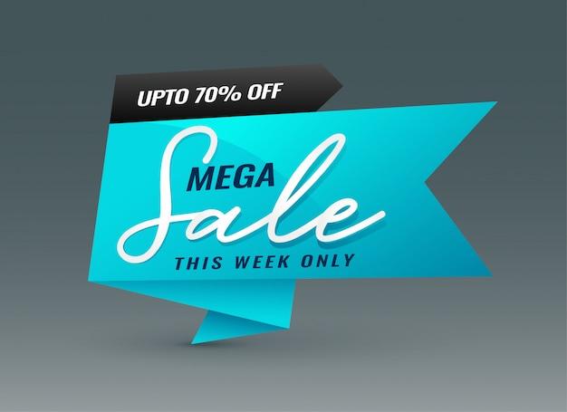Creative blue mega sale banner template Free Vector