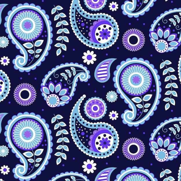 Motivo paisley blu creativo Vettore gratuito