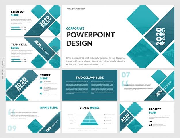 Творческие синие слайды шаблон Premium векторы