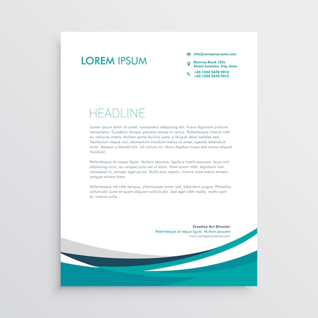 Creative Blue Wave Business Letterhead Design Free Vector