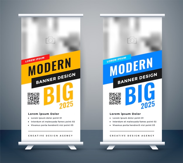 Creative blue and yellow rollup standee banner design Free Vector