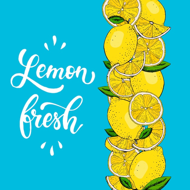 Creative border from hand drawn lemons Premium Vector