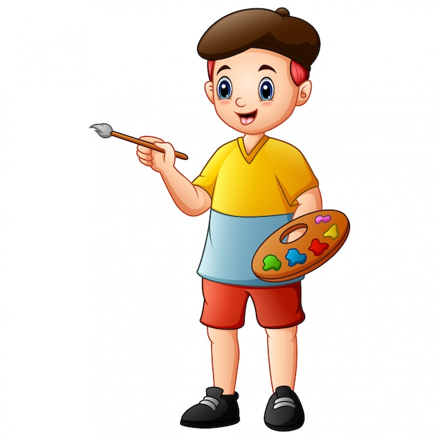 Creative boy holding paintbrush and palette with watercolors Premium Vector
