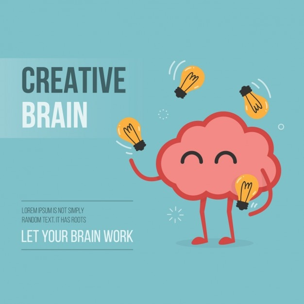 Creative brain background design Free Vector