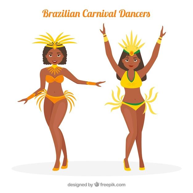 Creative brazilian carnival dancer set