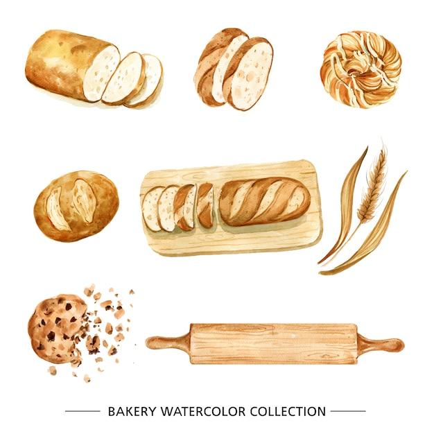 Creative bread watercolor illustration for decorative use. Free Vector