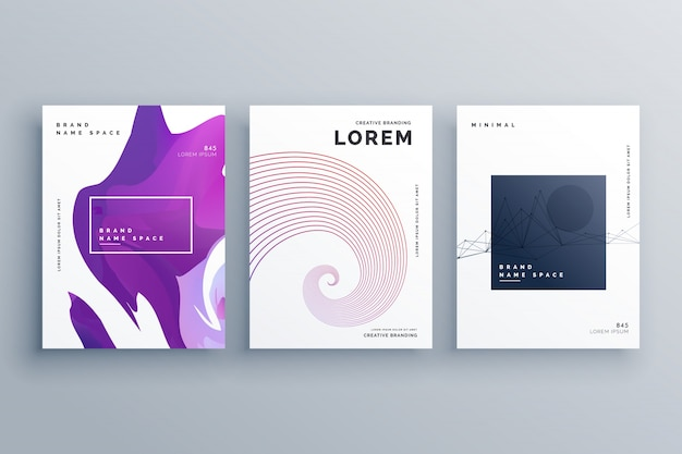 creative brochure design template in A4 size minimal style Free Vector