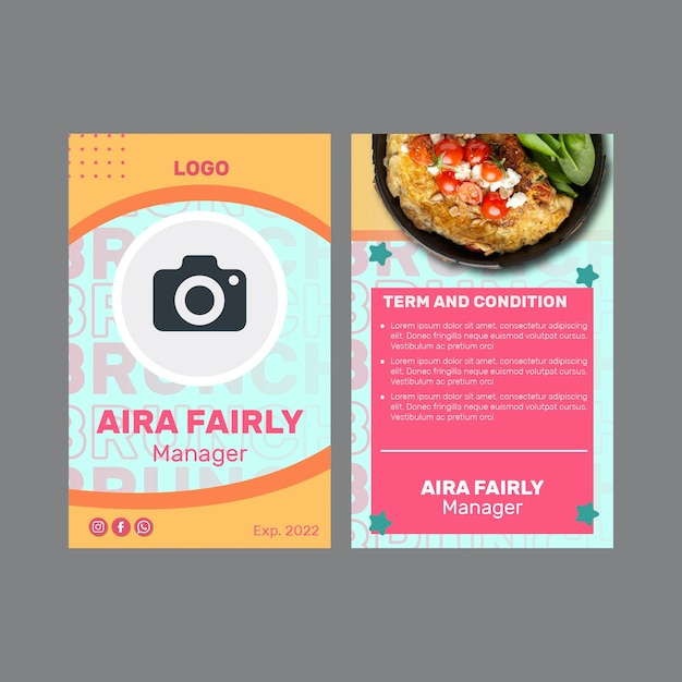 Creative brunch id card template Free Vector