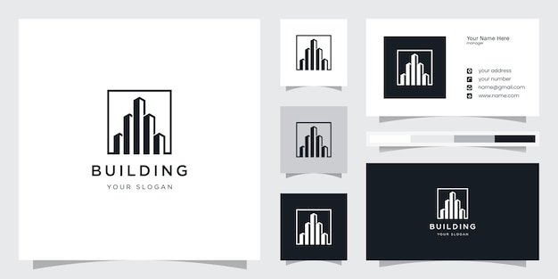 Шаблон дизайна логотипа креативного здания Premium векторы