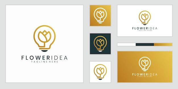Креативный светильник-лампочка в сочетании с цветком. красота, мода, салон, спа Premium векторы